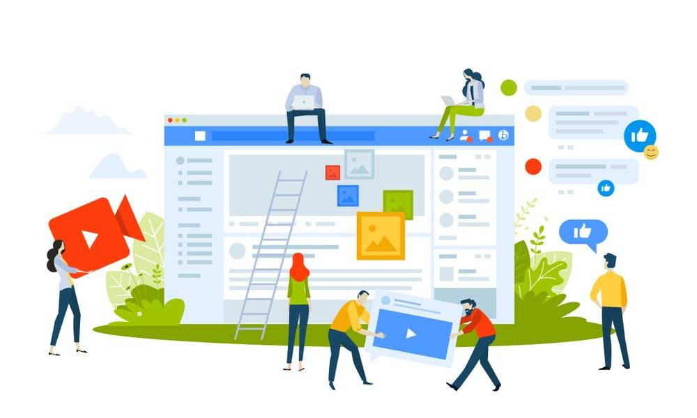 Masteradz illustration of people building an online page on Facebook with other people making a youtube video