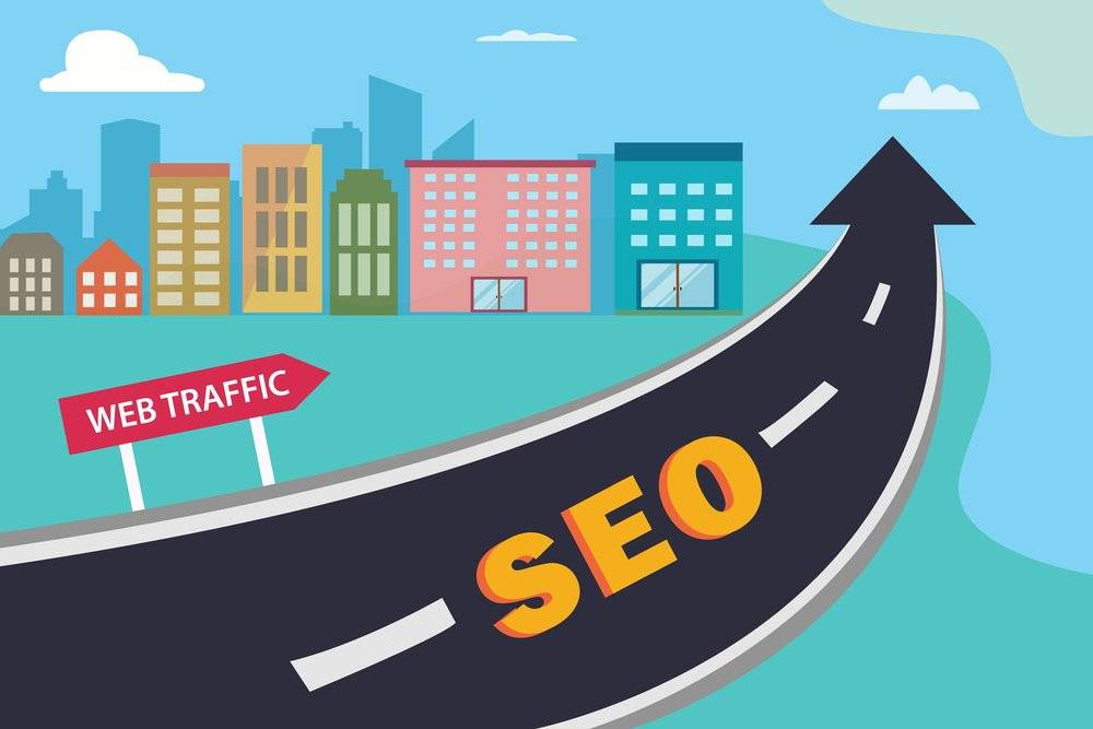 Masteradz, a road with the word SEO in the middle in yellow and the end of the road is in the shape of an arrow with a sign saying web traffic and a background of houses