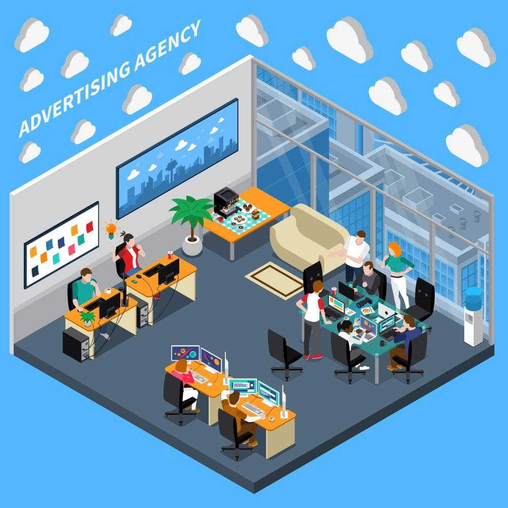 Masteradz an advertising agency room full of employees working on their desks with blue background filled with clouds