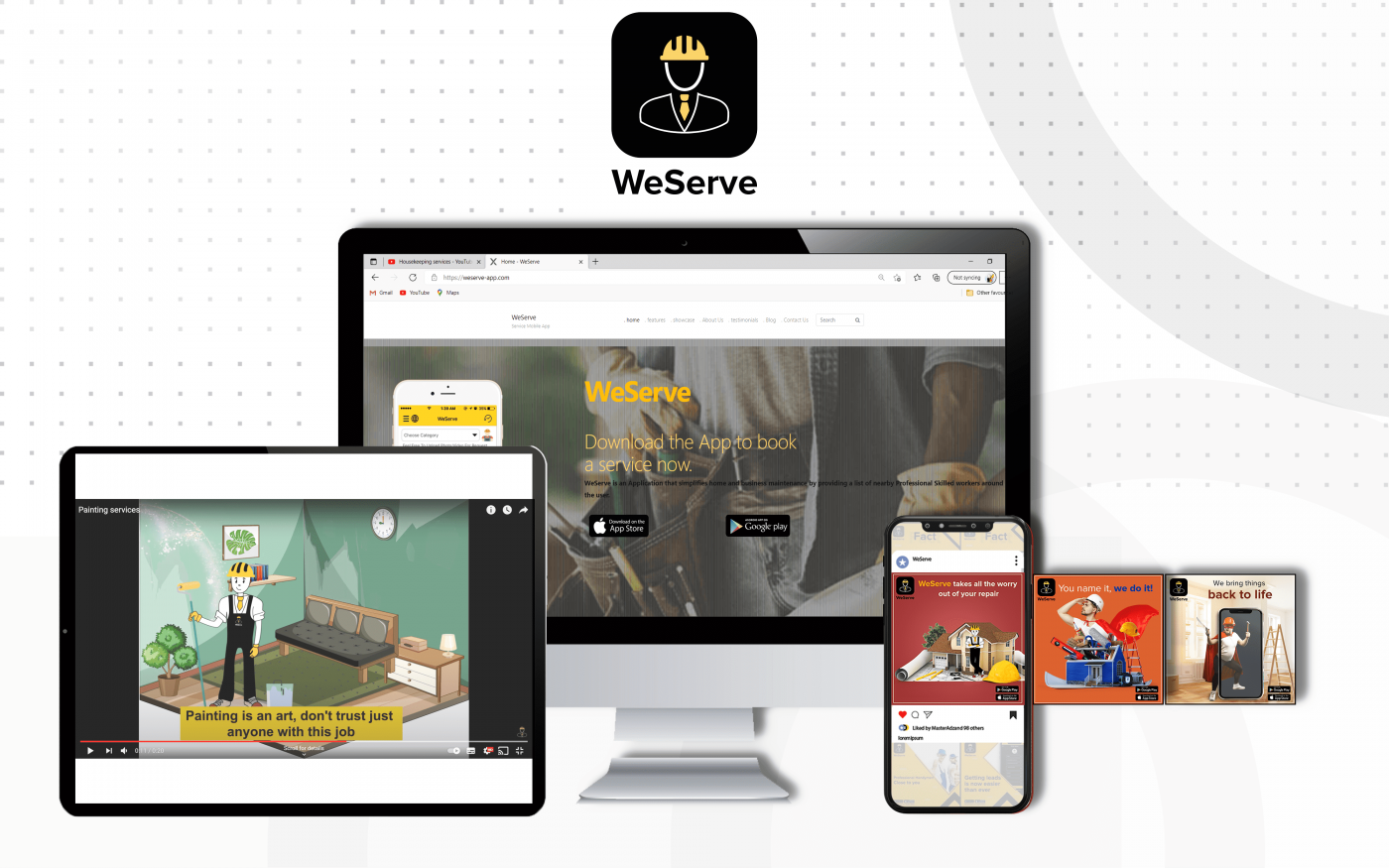 Masteradz designs for WeServe displayed on a monitor, mobile, and tablet